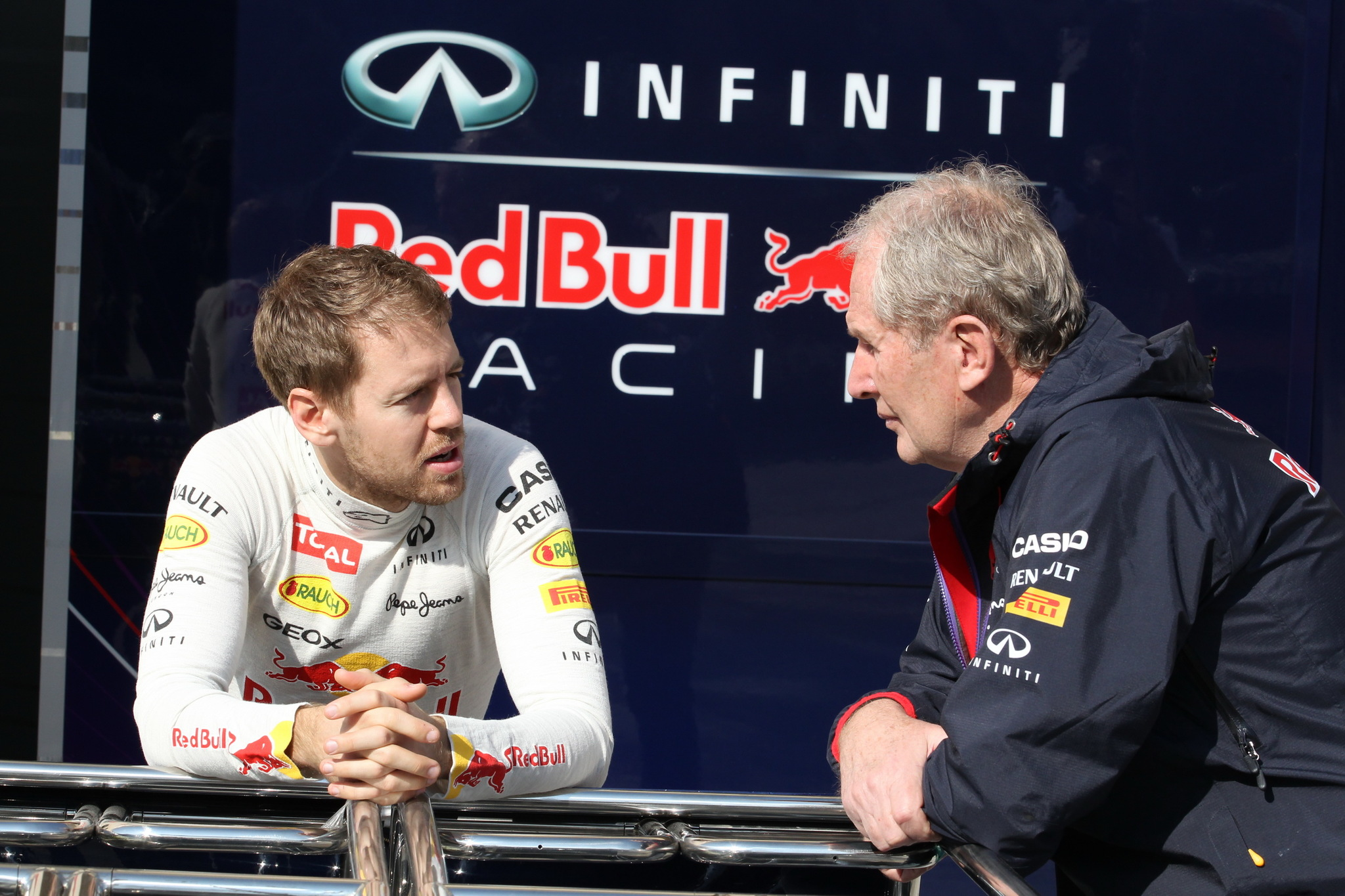 Sebastian Vettel y Helmut Marko en 2014