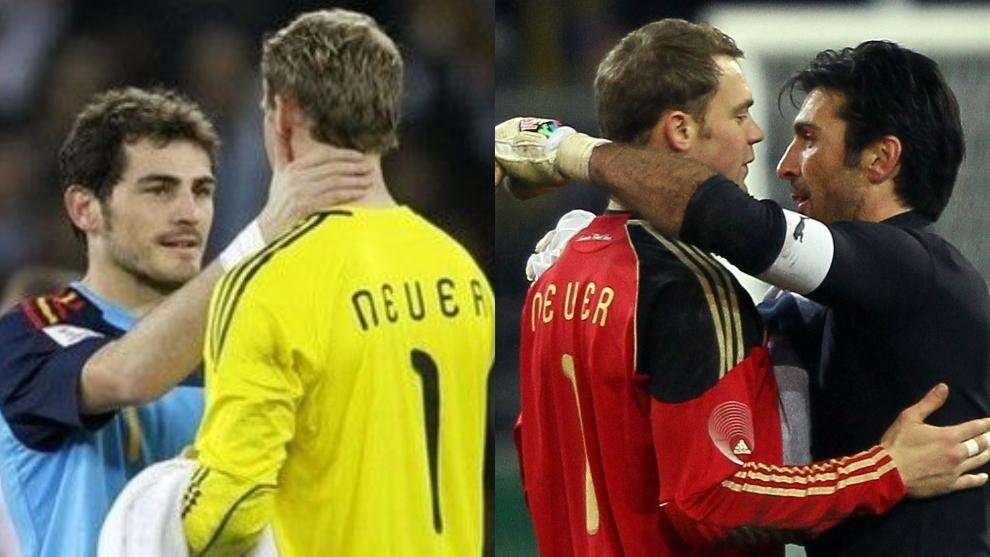 Neuer se saluda con Casillas y Buffon en anteriores enfrentamientos...