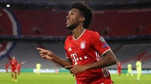 Kingsley Coman celebra un gol con el Bayern Munich.