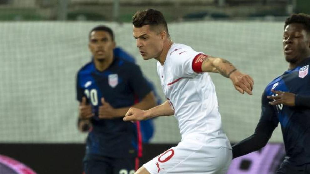 Xhaka, con la selección de Suiza.