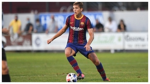 Nico, en un partido con el filial azulgrana.