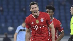 Robert Lewandowski celebra un gol con el Bayern.