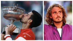 Un montaje con imágenes de Djokovic y Tsitsipas.