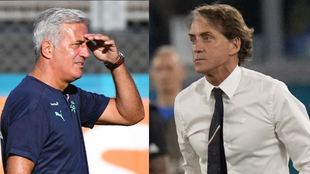Petkovic y Mancini, técnico de Suiza e Italia, respectivamente.