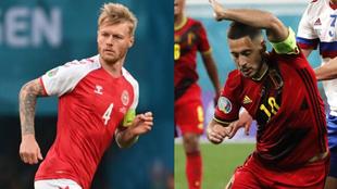 Kjaer y Hazard, protagonistas del Dinamarca - Bélgica.