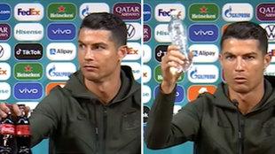 Cristiano quita dos Coca-Colas de la mesa y deja este mensaje...