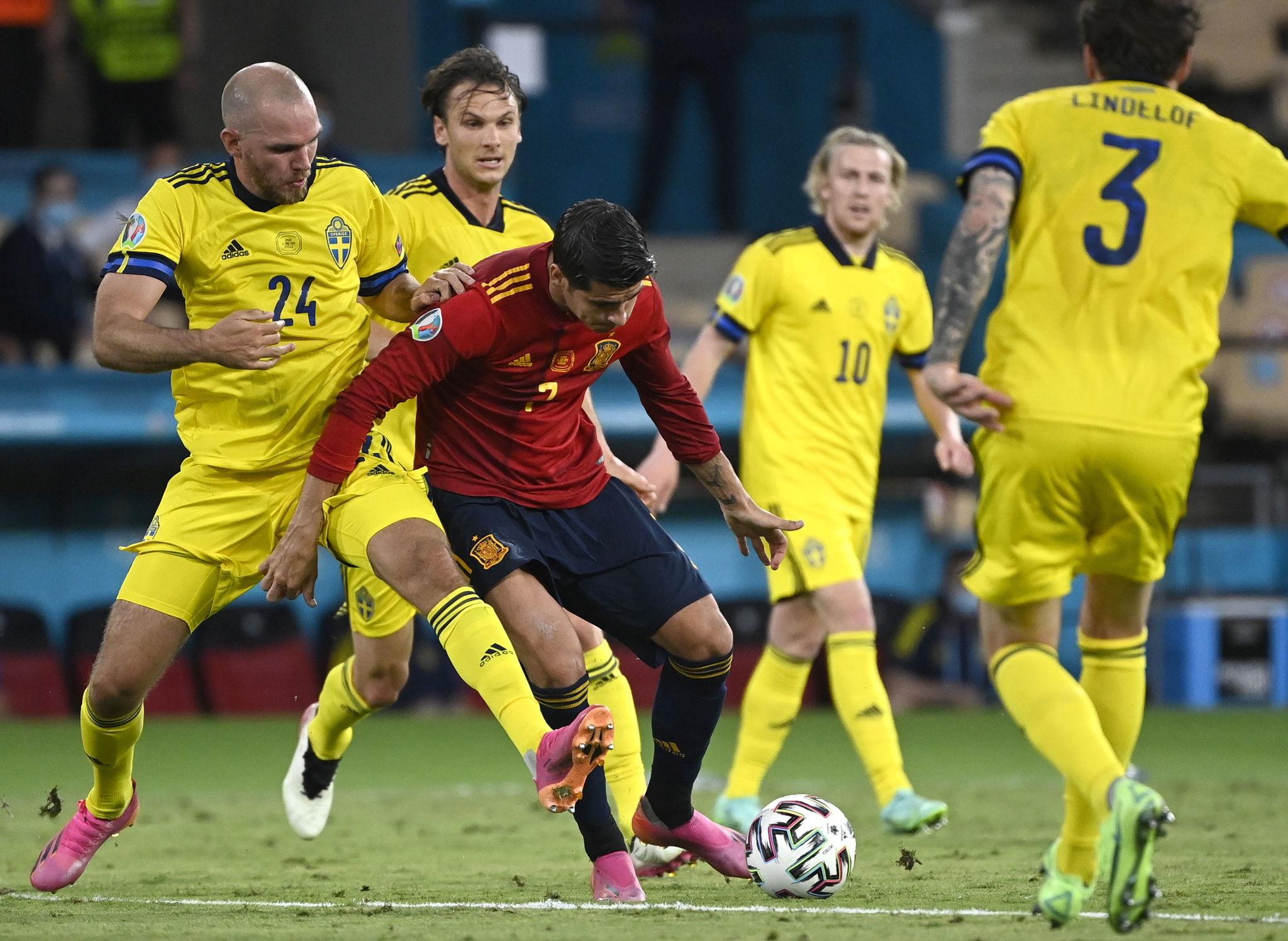 Alvaro Morata in action against Marcus Danielson