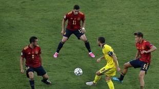 Koke y Llorente en el partido de España ante Suecia.