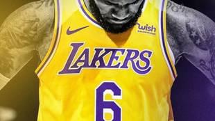 La imagen elegida por LeBron y los Lakers para anunciar su cambio de...