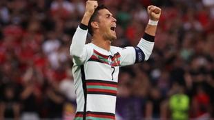 Cristiano Ronaldo celebra la victoria ante Hungría.