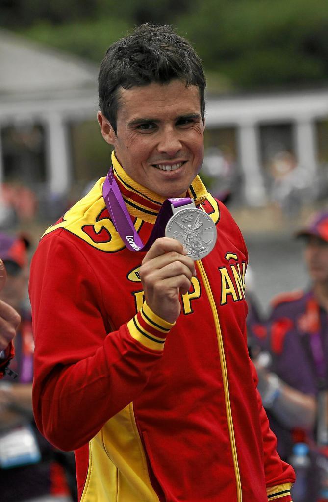 Javier Gómez Noya, con su plata olímpica en Londres 2012.