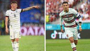 Tony Kroos y Cristiano Ronaldo, líderes de Alemania y Portugal,...