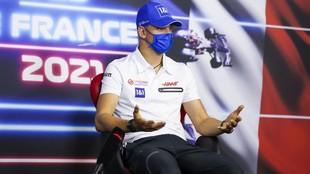 Mick Schumacher, durante la rueda de prensa previa al GP de Francia