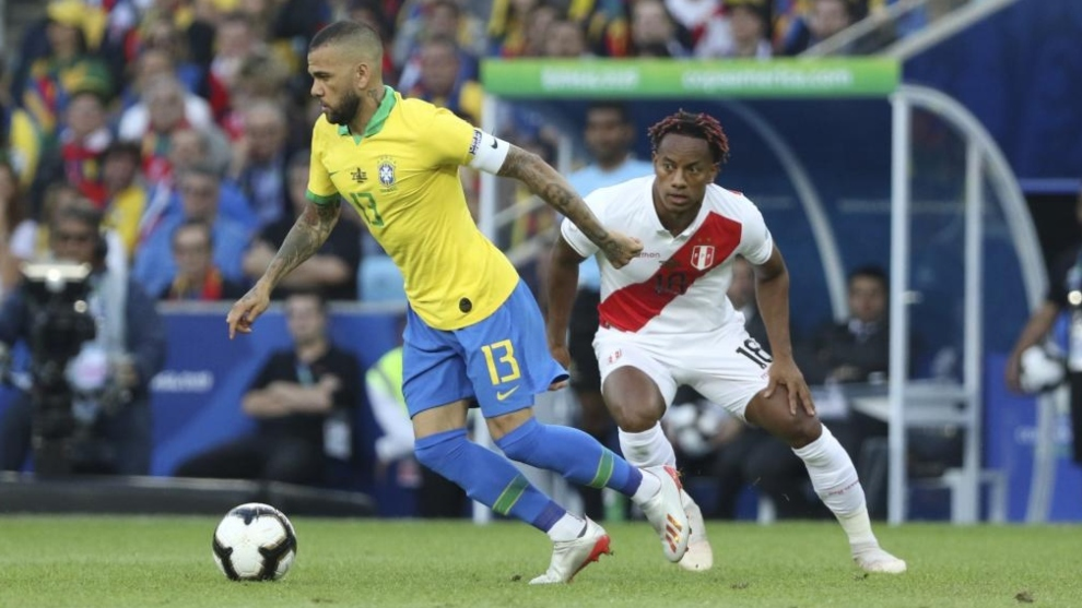Dani Alves (38) durante la última final de la Copa América.