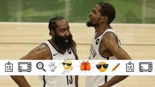 James Harden y Kevin Durant durante el partido ante los Bucks
