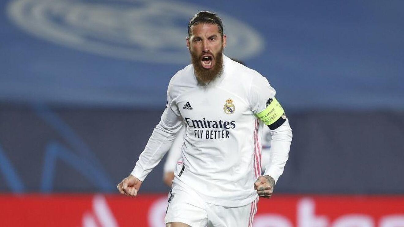 Sergio Ramos celebrando un gol esta temporada en Champions League.