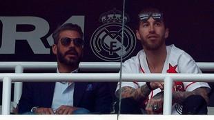 René y Sergio Ramos, durante un partido del Madrid