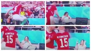 Secuencia de imágenes de la celebración del gol de Fiola.