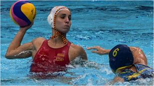 Anni Espar, en una jugada de esta Superfinal de la Liga Mundial.