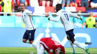 Griezmann festeja su gol ante Hungría.