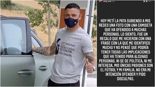 El Chimy Ávila con la camiseta y su mensaje de disculpas