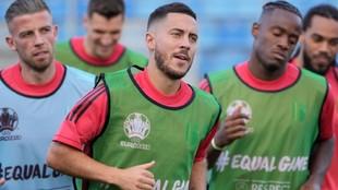 Hazard, en un entrenamiento con Bélgica