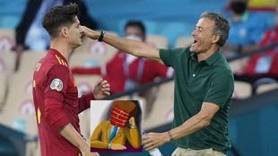 Morata y Luis Enrique, tras el gol ante Polonia.