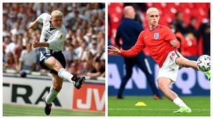 Paul Gascoigne y Phil Foden representando a la selección de...
