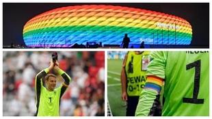 Un montaje con imágenes del Allianz Arena, Neuer y el brazalete...
