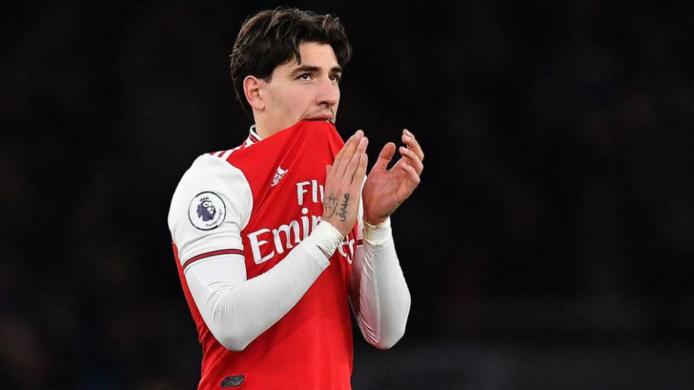 Hector Bellerín tras acabar un partido con el Arsenal esta temporada.