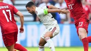 Hazard, durante el partido ante Dinamarca, donde dio una asistencia de...