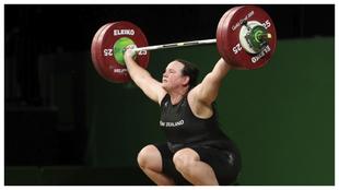 Laurel Hubbard durante los Juegos de la Commonwealth de 2018.