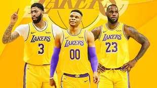 Anthony Davis, Russell Westbrook y LeBron James en un montaje con la...