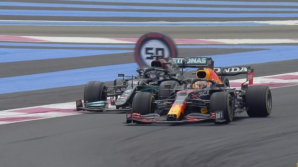 Max Verstappen y Lewis Hamilton en el GP de Francia