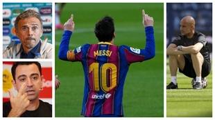 Un montaje con imágenes de Messi, Luis Enrique, Pep Guardiola y Xavi...