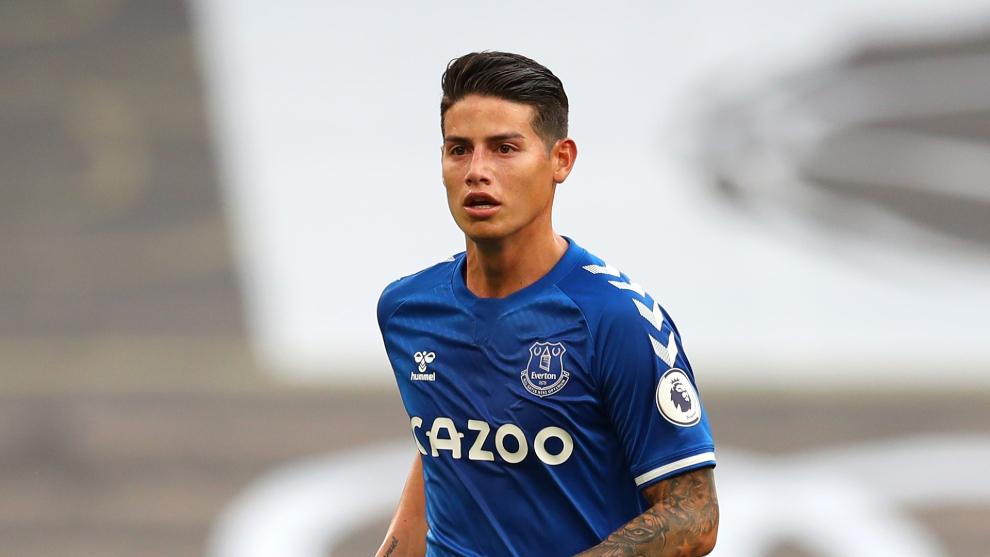 James Rodríguez en un partido de esta temporada con el Everton.