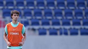Joao Félix en un entrenamiento con Portugal.
