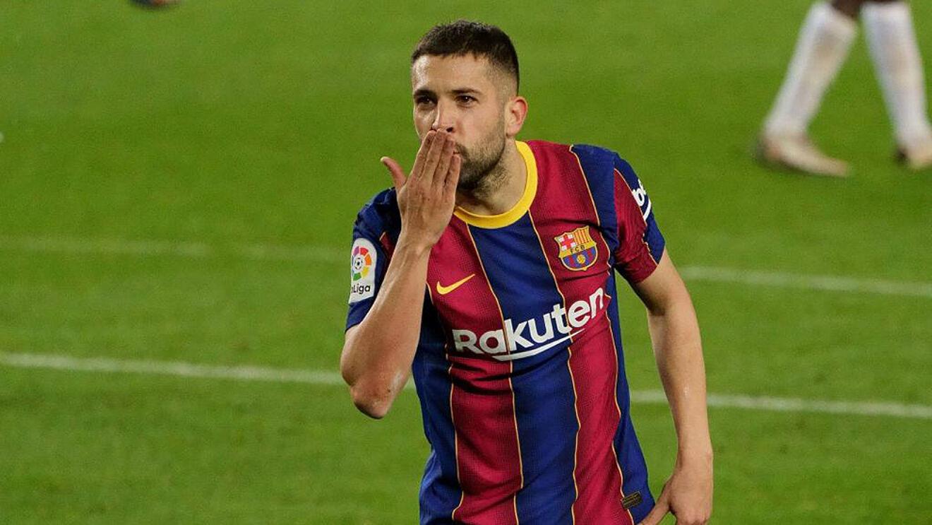 Jordi Alba celebrando un gol con el FC Barcelona.