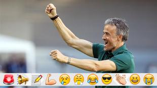 Luis Enrique celebra uno de los goles