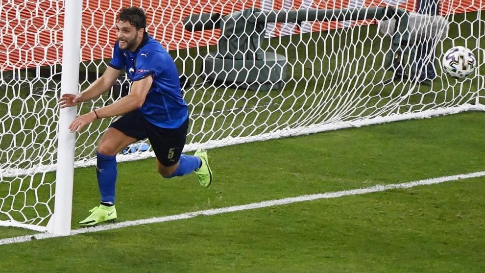 Locatelli, tras marcar un gol con Italia.