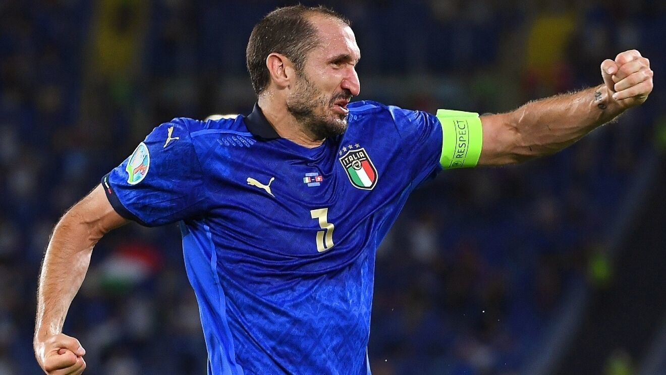 Chiellini celebrando un gol de Italia en esta Eurocopa.