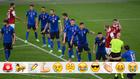 La selección italiana, en formación defensiva