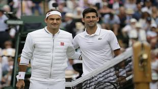 Djokovic and Federer before the 2019 Wimbledon final.