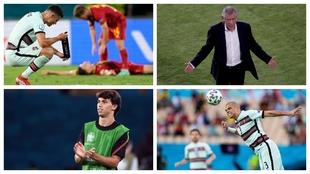 Cristiano Ronaldo, Fernando Santos, Joao Félix y Pepe.
