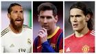 Sergio Ramos, Leo Messi y Edinson Cavani.