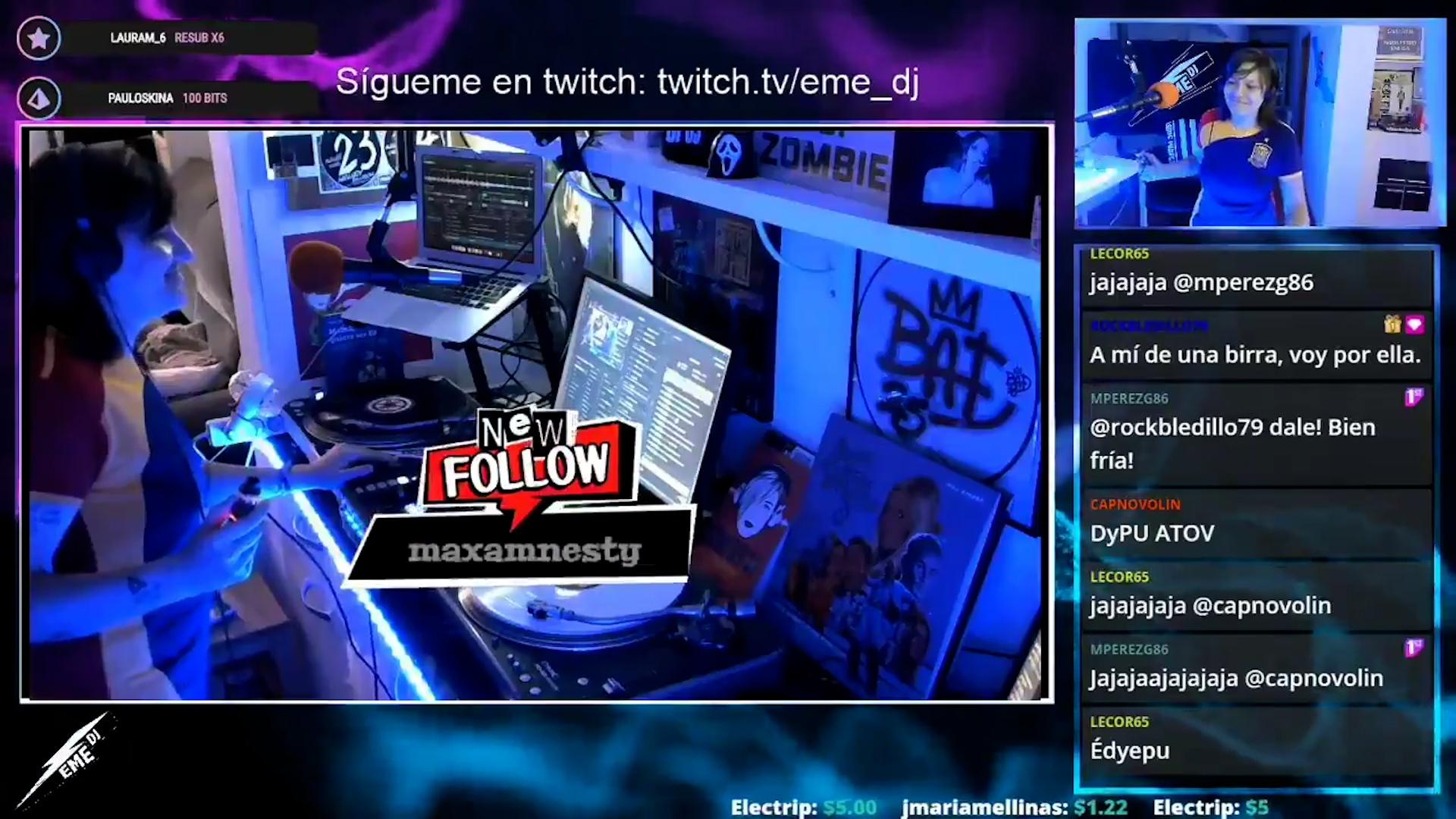 Eme Dj (Marta Fierro) durante una de sus sesiones musicales en Twitch