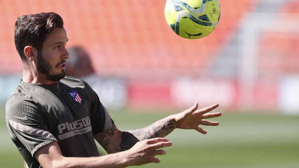 Saúl, durante un entrenamiento con el Atlético de Madrid