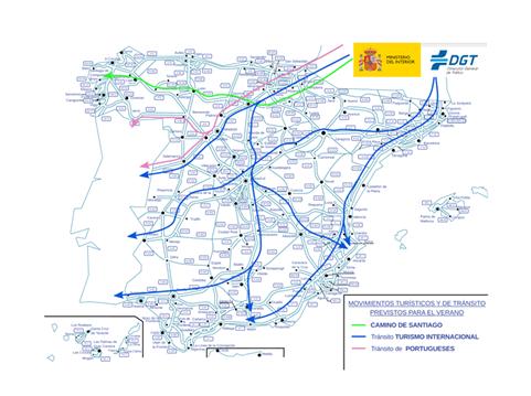 Rutas de los principales movimientos turísticos y de tránsito durante el verano.