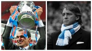 Roberto Mancini, con la FA Cup y Roberto Mancini, con la bufanda del...