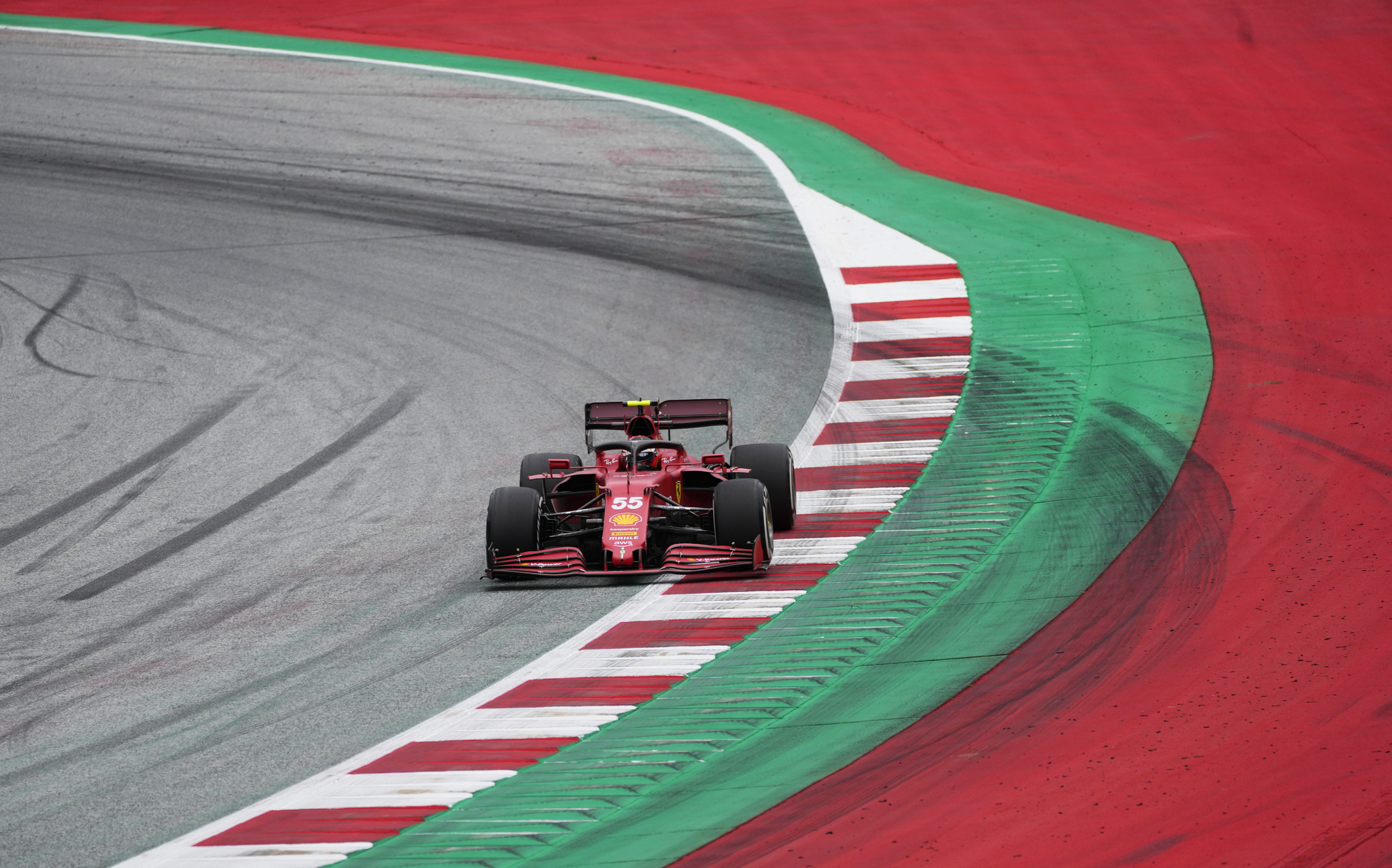 Ferrari driver lt;HIT gt;Carlos lt;/HIT gt; lt;HIT gt;Sainz lt;/HIT gt; of Spain steers his car during the first free practice for the Austrian Formula One Grand Prix at the Red Bull Ring racetrack in Spielberg, Austria, Friday, July 2, 2021. The Austrian Grand Prix will be held on Sunday. (AP Photo/Darko Bandic)